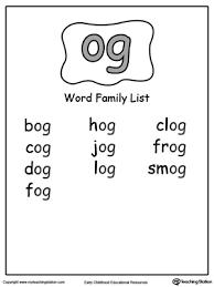 og word family list myteachingstation com