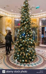 Christmas Tree Ornament Display Paris France People Enjoying Christmas Lights Tree Display At
