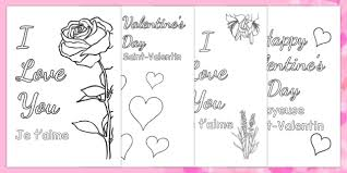 valentine u0027s day card colouring templates french translation