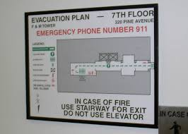 evacuation route signs emergency evac plan national visual systems