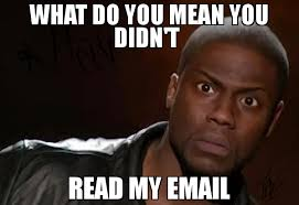 Email Meme - what do you mean you didn t read my email meme kevin hart the hell