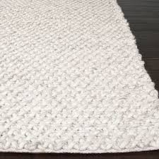 Area Rug 9 X 12 Global Bohemian Contemporary Solid Pattern Ivory Gray Wool Area