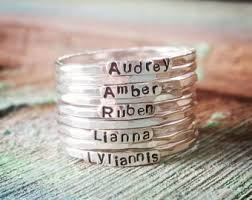 customized rings with names stackable name ring etsy