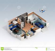 cutaway view of smart house interior stock illustration image