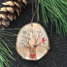 Christmas Ornaments With Initials Snowy Winter Tree With Red Cardinal And Heart By Forageworkshop