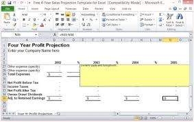 free 4 year sales projection template for excel