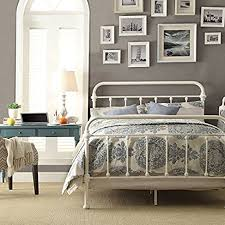 iron bed frame full with queen size duvet cover using antique