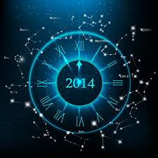 decorations and accessories new year clock background set vector