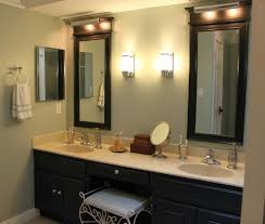 contemporary bathroom lighting ideas white granite countertop mounted washbasin on black real wood