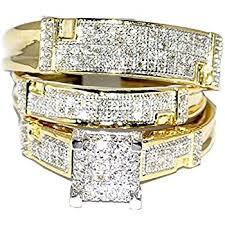 wedding set rings his wedding rings set trio 14k white
