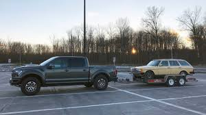 mercedes towing 2017 ford f 150 raptor towing a 1984 mercedes 300td wagon