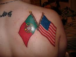 portuguese and usa flags cross tattoo on right back shoulder