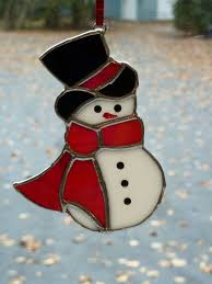 stained glass snowman tree by sarafranceglassart on etsy