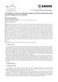 numerical study of the helmholtz resonators behavior using