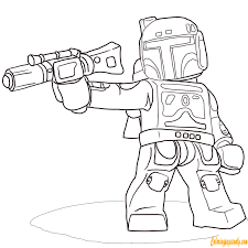 boba fett from lego star wars coloring page free coloring pages