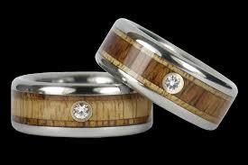 diamond wood rings images Wood and diamond titanium ring bands hawaii titanium rings jpg