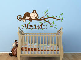 monkey decal monkey name decal nursery decor by newyorkvinyl