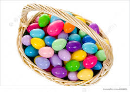 easter egg basket holidays easter egg basket with multicolored eggs stock picture