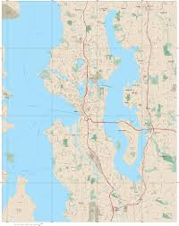 Seattle Wa Map by Seattle Wa Digital Map With Local Streets Adobe Illustrator