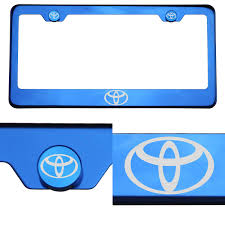 toyota logo blue chrome license plate frame t304 stainless steel laser