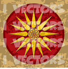 vector graphic of a vergina sun macedonia symbol on a and brown