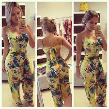 cheap rompers and jumpsuits cheap casual tropical floral printed yellow jumpsuits spaghetti