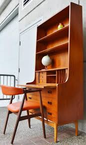 Tall Writing Desk by Børge Mogensen Teak And Oak Secretary Desk With Bookcase At
