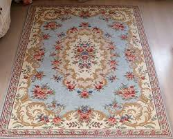 Floral Pattern Rugs French Victorian Classic Country Floral Patterned Blue Area Carpet