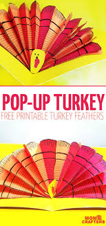 printable thanksgiving crafts pop up turkey craft free printable turkey feathers moms and crafters