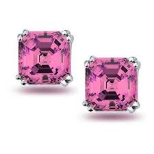 pink earrings pink cz asscher cut stud earrings 925 sterling silver 8mm