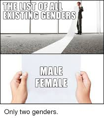 List Of All Memes - the list of all existing genders male female only two genders meme
