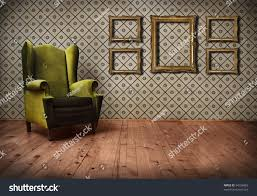 Old Fashioned Picture Frames Vintage Room Interior Wallpaper Retro Golden Stock Photo 94736965