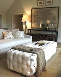 Colored Ottoman White Velvet Tufted Ottoman Transitional Living Room