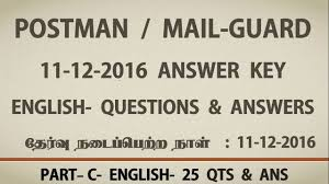 tamilnadu postal exam answer key 11 12 2016 qts u0026 ans english 25