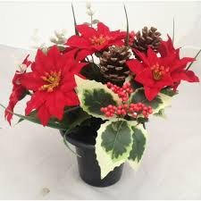 crem pot with poinsettia flowers order now