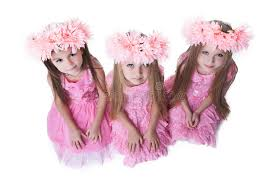 three beautiful with pink wreaths royalty free stock