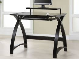 Dark Wood Desk With Hutch by Straight Black Wooden Desk With Dark Glass Top And Mini Standing