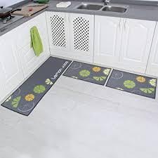 Yellow Kitchen Rug Set Amazon Com Carvapet 3 Piece Non Slip Kitchen Mat Rubber Backing