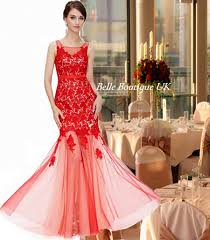 eva red lace fishtail maxi evening long ballgown occasion dress uk