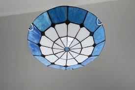 tiffany blue lamp simple blue white glass ceiling light home