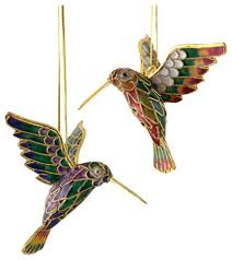 hummingbird ornaments set of 2 traditional