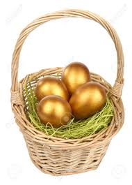gold easter eggs golden easter eggs in basket isolated stock photo picture and