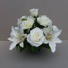 white lilies pot for memorial vase with artificial white lilies roses