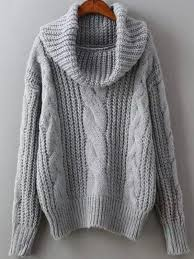 cowl sweater grey cowl neck winter sweater trendy cable knit sweater lyfie