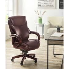 Leather Office Chair Serta Wellness By Design Black Bonded Leather Mid Back Office
