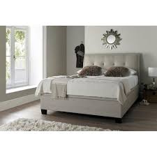 Ottoman Storage Beds Accent Oatmeal Fabric Ottoman 5ft Bed