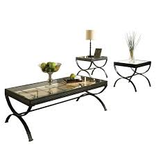 steve silver emerson rectangle glass top 3 piece coffee table set