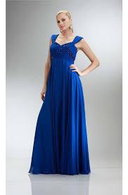 a line empire waist cap sleeve royal blue chiffon beaded evening
