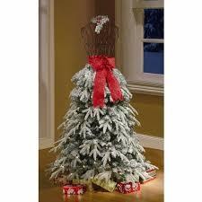 flocked tree dress form mannequin 5 ft pre lit