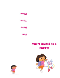 free printable invitations dora the explorer free printable birthday party invitation